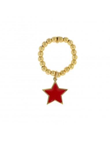 Anello elastico a sfere con stella pendente a lastra smaltata rossa in argento 925 placcato oro giallo.