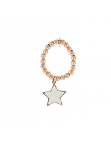 Anello a sfere con stella pendente smaltata bianca placcato oro rosa.