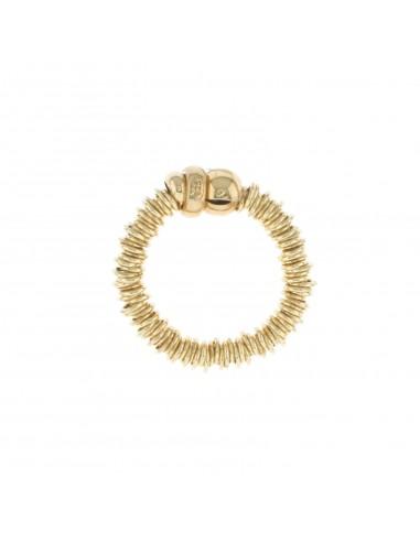 Anello elastico a rondelle e sfera in argento 925 placcato oro giallo