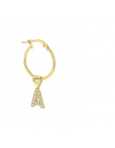 Mono orecchino con lettera zirconata pendente placcato oro giallo