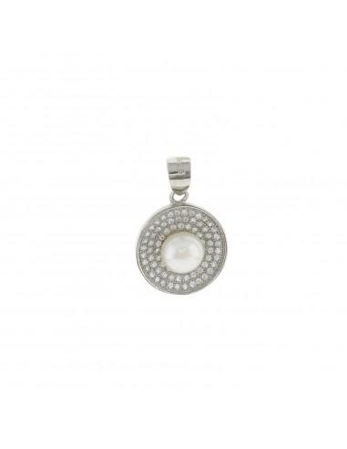 Ciondolo tondo con zirconi bianchi e perla centrale in argento 925