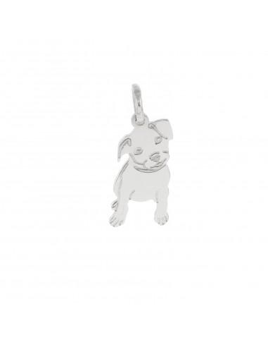 Ciondolo cagnolino a lastra pendente in argento 925 placcato oro bianco.