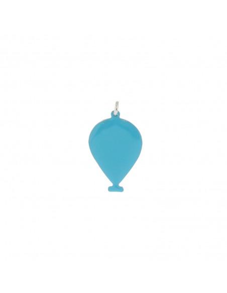 Ciondolo palloncino a lastra smaltato azzurro in argento 925 placcato oro bianco
