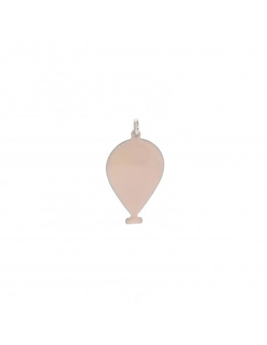 Ciondolo palloncino a lastra smaltato rosa in argento 925 placcato oro bianco
