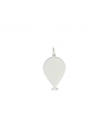 Ciondolo palloncino a lastra smaltato bianco in argento 925 placcato oro bianco