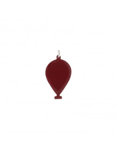 Ciondolo palloncino a lastra smaltato rosso in argento 925 placcato oro bianco