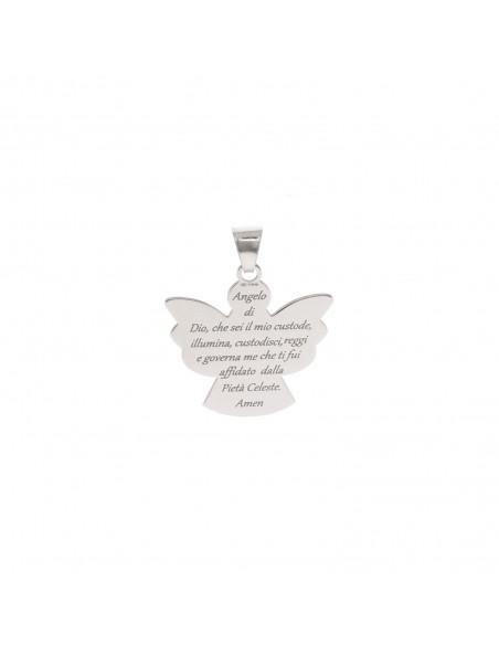 Ciondolo con preghiera Angelo di Dio 20x19 mm in argento 925 placcato oro bianco