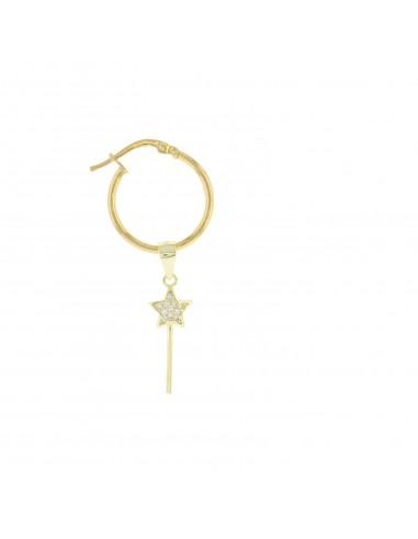 Mono orecchino con bacchetta magica pendente in argenoto sterling 925 placcato oro giallo