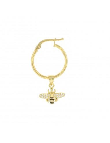 Mono orecchino con ape zirconata pendente placcato oro giallo