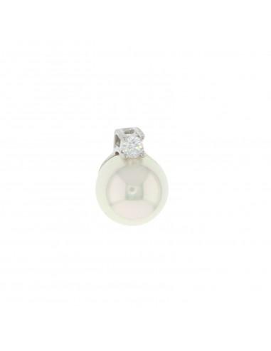 Ciondolo perla 10 mm. con contro maglia passante e zircone da 3,5 mm in argento 925 placcato oro bianco.