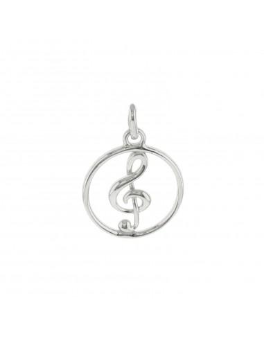 Ciondolo chiave di violino in tondo in argento 925 placcato oro bianco