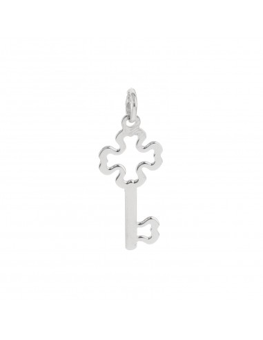 Ciondolo chiave con quadrifoglio traforato a lastra in argento 925 placcato oro bianco.