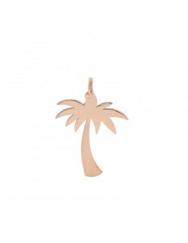 Ciondolo palma a lastra in argento 925 placcato oro rosa