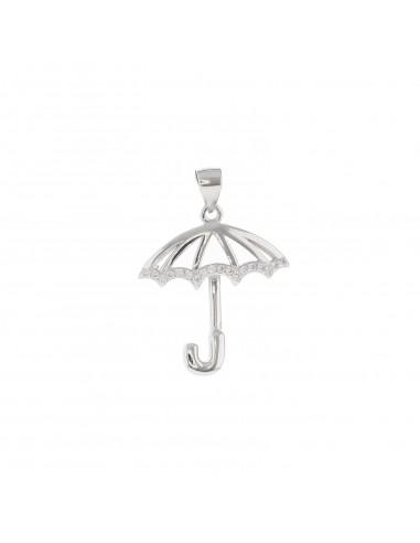 Ciondolo ombrello traforato con dettaglio zirconato bianco in argento 925 placcato oro bianco