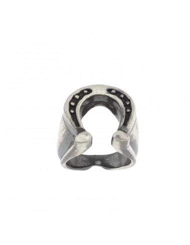 Anello ferro di cavallo in argento brunito 925