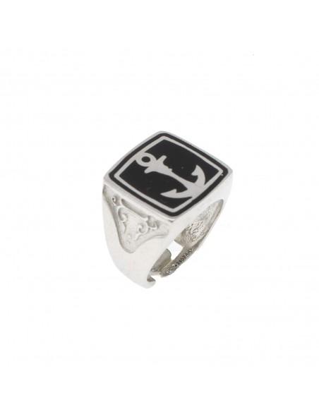 Anello regolabile con scudo  quadrato con ancora placcato oro bianco in argento 925